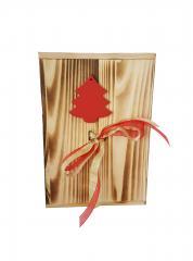 Plosca cutie de lemn 500 ml decorat cu brad